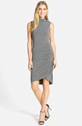 Halogen Sleeveless Side Ruched Mock Neck Knit Dress Regular And Petite Heather Dark Grey