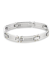 Saks Fifth Avenue Stainless Steel And 14K Yellow Gold Brushed Link Bracelet Silver Gold