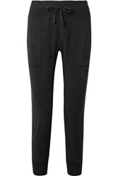 James Perse Jersey Trimmed Cotton Gabardine Track Pants Black