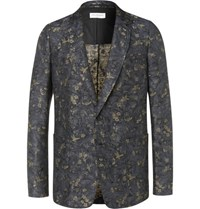 Dries Van Noten Linen And Cotton Blend Jacquard Suit Jacket Blue