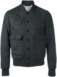 Alexander Mcqueen Moth Embroidered Bomber Jacket Black