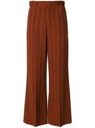 Chloe Flared Pinstriped Trousers Silk Polyester Viscose Metallized Polyester Brown