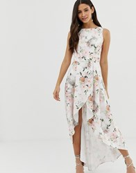 Chi Chi London Midi Dress With Wrap Skirt And Hi Low Hem In Floral Print Multi