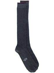 Eleventy Long Ribbed Socks Grey