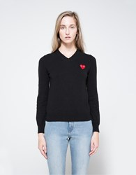Comme Des Garcons Red Heart Play V Neck Pullover Black