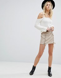 Honey Punch Laced Up Mini Skirt Taupe Grey