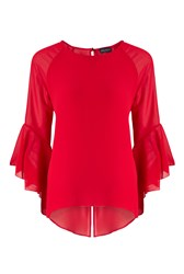 James Lakeland Flute Sleeve Blouse Red
