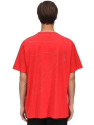 Off White Oversize Unfinished Print Cotton T Shirt Red