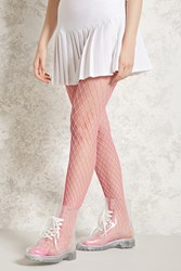 Forever 21 Neon Oversized Fishnet Tights Pink