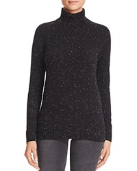 Bloomingdale's C By Cashmere Turtleneck Sweater Black Donegal