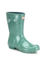 Hunter Original Short Gloss Rubber Rain Boots Succulent Green
