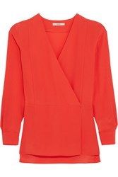 Etro Donna Wrap Effect Silk Crepe De Chine Top Orange