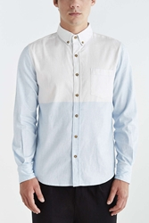 Vanishing Elephant Two Tone Button Down Shirt Blue