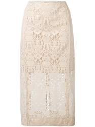 Dkny Lace Pencil Skirt Nude Neutrals