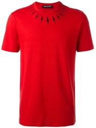 Neil Barrett Lightning Bolt T Shirt Red