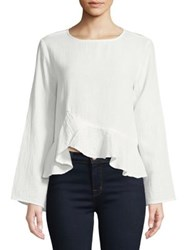 Design Lab Lord And Taylor Ruffled Asymmetric Peplum Blouse White