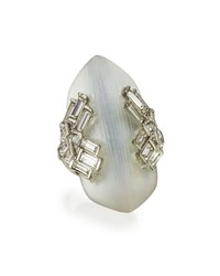 Alexis Bittar Lucite Brilliant Cut Baguette Crystal Ring Silver