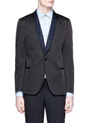 Paul Smith Palm Tree Jacquard Shawl Lapel Blazer Black