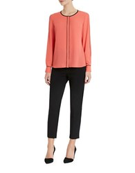 Ellen Tracy Roundneck Long Sleeve Blouse Rose