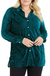 Foxcroft Plus Size Jade Velvet Burnout Top Jeweled Teal