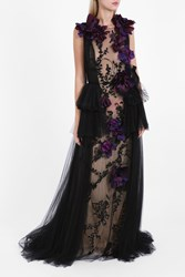 Marchesa Couture Women S Floral Embroidered A Line Gown Boutique1 Black