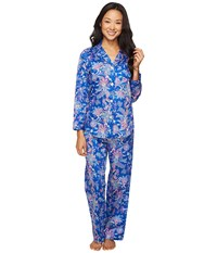 Lauren Ralph Lauren Petite Sateen Notch Collar Pajama Paisley Blue Women's Pajama Sets