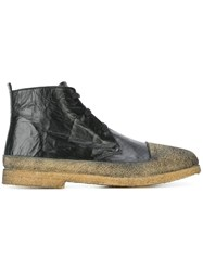 Rocco P. Textured Lace Up Boots Black