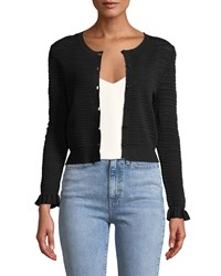 Rebecca Taylor Button Front Pointelle Mix Cardigan Black