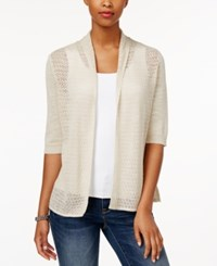 Charter Club Pointelle Open Front Cardigan Only At Macy's Sand