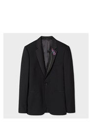 Paul Smith Men's Tailored Fit Black Stretch Wool Evening Blazer With Floral