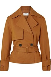 Vince Belted Linen And Cotton Blend Twill Jacket Camel