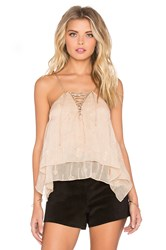 Twelfth St. By Cynthia Vincent Envelope Lace Up Cami Beige