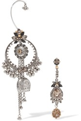 Alexander Mcqueen Silver And Gold Tone Swarovski Crystal Earrings One Size