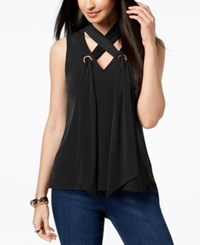 Thalia Sodi Lace Up Grommet Top Created For Macy's Deep Black