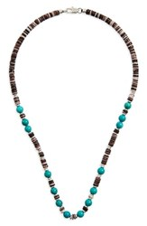 Link Up Men's Shell Bead Necklace Black Turquoise