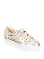 Nine West Hidrate Metallic Leather Platform Sneakers Light Gold