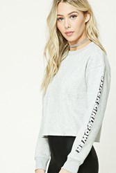 Forever 21 Super Girl Power Graphic Top Heather Grey Cream