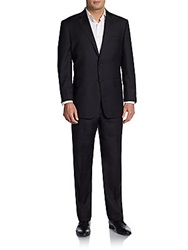 Saks Fifth Avenue Black Regular Fit Chevron Tonal Striped Wool Suit Black