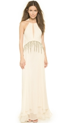 Haute Hippie Gathered Embellished Gown Ant Ivoire