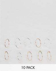 Asos Pack Of 10 Multi Finger Knot Rings Mixed Metal
