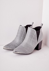 Missguided Pointed Toe Cap Ankle Boots Reptile Print Black
