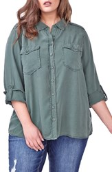 Addition Elle Love And Legend Plus Size Women's Roll Sleeve Shirt Thyme
