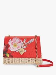 Ted Baker Elaaine Floral Print Basket Cross Body Bag Bright Red