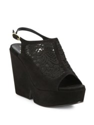 Robert Clergerie Danat Lace Platform Wedge Slingbacks Black