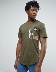 Only And Sons Longline T Shirt With Badge Detailing Curved Hem Olive Night Green