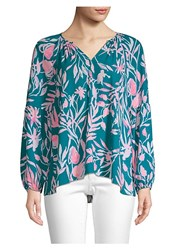 Lilly Pulitzer Charleigh Peasant Blouse Tidal Wave