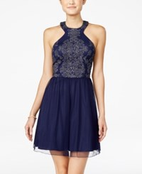 Speechless Juniors' Glitter Fit And Flare Dress Silver Navy