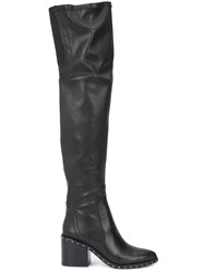 Derek Lam 10 Crosby Studded Sole Thigh Length Boots Black