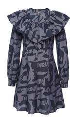 Alexis Mabille Ruffled Cat Print Shirt Dress