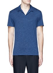 Theory 'Willem' Open Placket Jersey Polo Shirt Blue